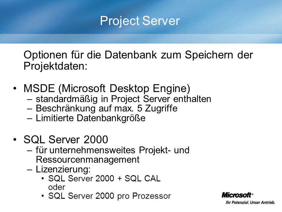 Project Server Optionen für die Datenbank zum Speichern der Projektdaten: MSDE (Microsoft Desktop Engine) –standardmäßig in Project Server enthalten –Beschränkung auf max.