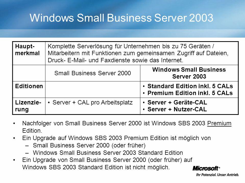 Windows Small Business Server 2003 Haupt- merkmal Komplette Serverlösung für Unternehmen bis zu 75 Geräten / Mitarbeitern mit Funktionen zum gemeinsamen Zugriff auf Dateien, Druck- E-Mail- und Faxdienste sowie das Internet.