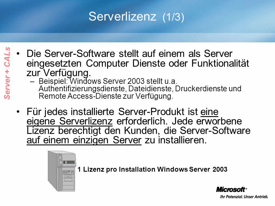 Serverlizenz (1/3) Die Server-Software stellt auf einem als Server eingesetzten Computer Dienste oder Funktionalität zur Verfügung. –Beispiel: Windows