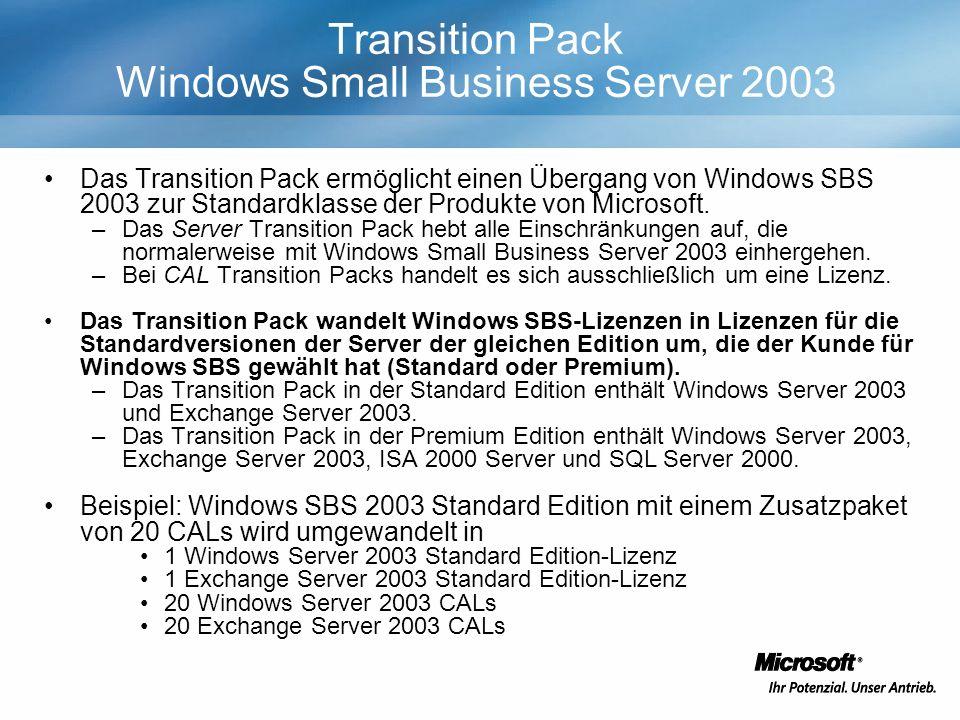 Transition Pack Windows Small Business Server 2003 Das Transition Pack ermöglicht einen Übergang von Windows SBS 2003 zur Standardklasse der Produkte von Microsoft.