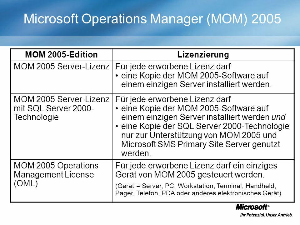 Microsoft Operations Manager (MOM) 2005 MOM 2005-EditionLizenzierung MOM 2005 Server-LizenzFür jede erworbene Lizenz darf eine Kopie der MOM 2005-Software auf einem einzigen Server installiert werden.