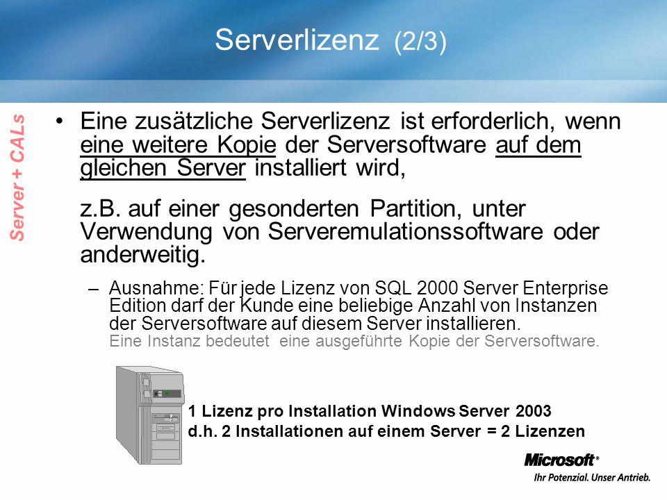 Serverlizenz (2/3) Eine zusätzliche Serverlizenz ist erforderlich, wenn eine weitere Kopie der Serversoftware auf dem gleichen Server installiert wird, z.B.