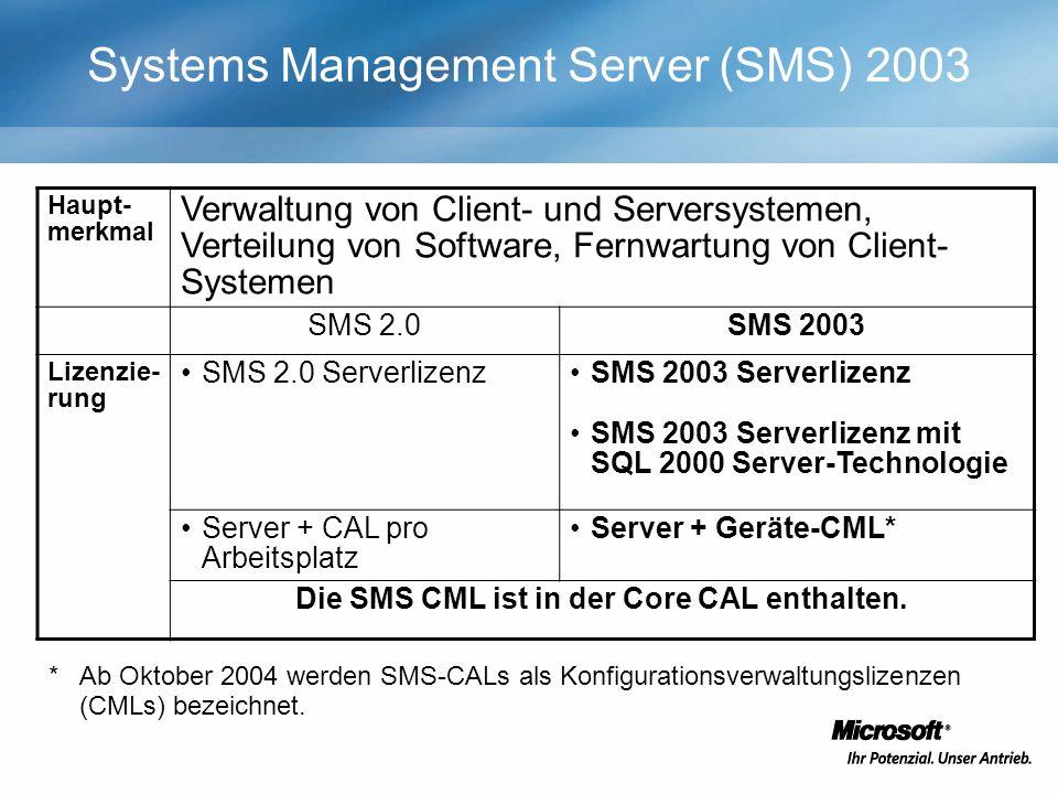 Systems Management Server (SMS) 2003 Haupt- merkmal Verwaltung von Client- und Serversystemen, Verteilung von Software, Fernwartung von Client- Systemen SMS 2.0SMS 2003 Lizenzie- rung SMS 2.0 ServerlizenzSMS 2003 Serverlizenz SMS 2003 Serverlizenz mit SQL 2000 Server-Technologie Server + CAL pro Arbeitsplatz Server + Geräte-CML* Die SMS CML ist in der Core CAL enthalten.