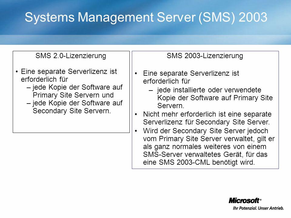 SMS 2.0-Lizenzierung Eine separate Serverlizenz ist erforderlich für –jede Kopie der Software auf Primary Site Servern und –jede Kopie der Software auf Secondary Site Servern.