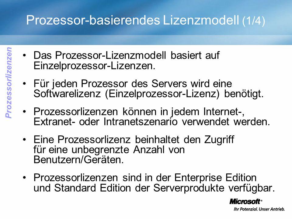 Prozessor-basierendes Lizenzmodell (1/4) Das Prozessor-Lizenzmodell basiert auf Einzelprozessor-Lizenzen. Für jeden Prozessor des Servers wird eine So