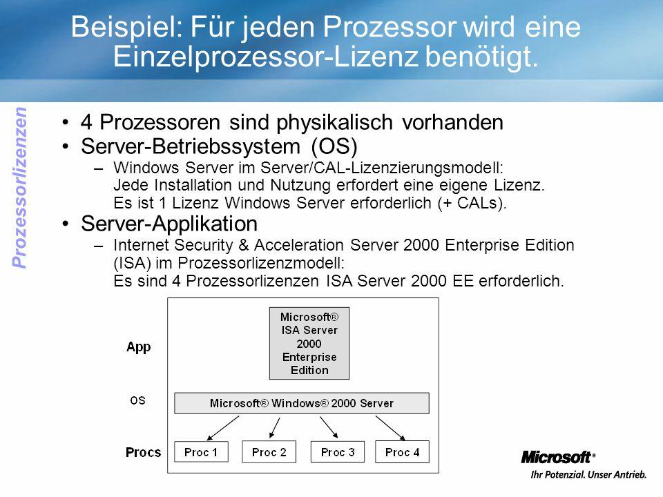 Beispiel: Für jeden Prozessor wird eine Einzelprozessor-Lizenz benötigt.