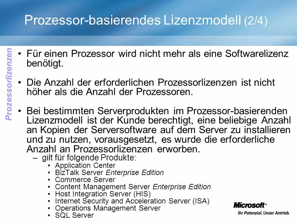 Prozessor-basierendes Lizenzmodell (2/4) Für einen Prozessor wird nicht mehr als eine Softwarelizenz benötigt. Die Anzahl der erforderlichen Prozessor