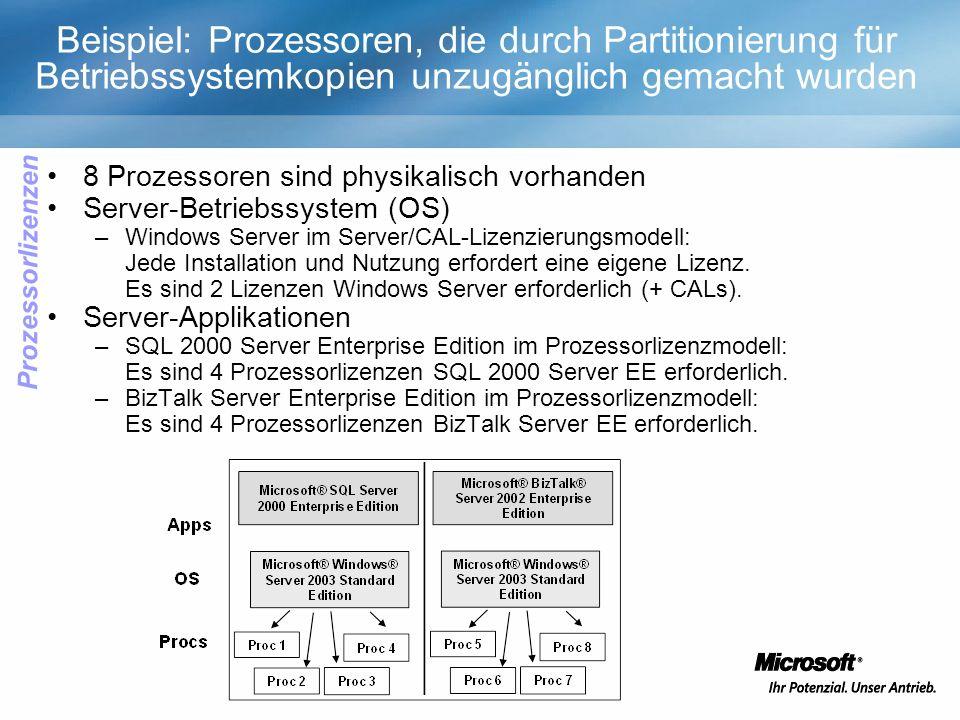 8 Prozessoren sind physikalisch vorhanden Server-Betriebssystem (OS) –Windows Server im Server/CAL-Lizenzierungsmodell: Jede Installation und Nutzung erfordert eine eigene Lizenz.