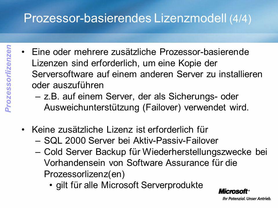 Prozessor-basierendes Lizenzmodell (4/4) Eine oder mehrere zusätzliche Prozessor-basierende Lizenzen sind erforderlich, um eine Kopie der Serversoftware auf einem anderen Server zu installieren oder auszuführen –z.B.