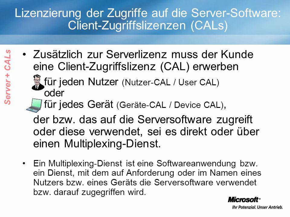 Lizenzierung der Zugriffe auf die Server-Software: Client-Zugriffslizenzen (CALs) Zusätzlich zur Serverlizenz muss der Kunde eine Client-Zugriffslizenz (CAL) erwerben für jeden Nutzer (Nutzer-CAL / User CAL) oder für jedes Gerät (Geräte-CAL / Device CAL), der bzw.