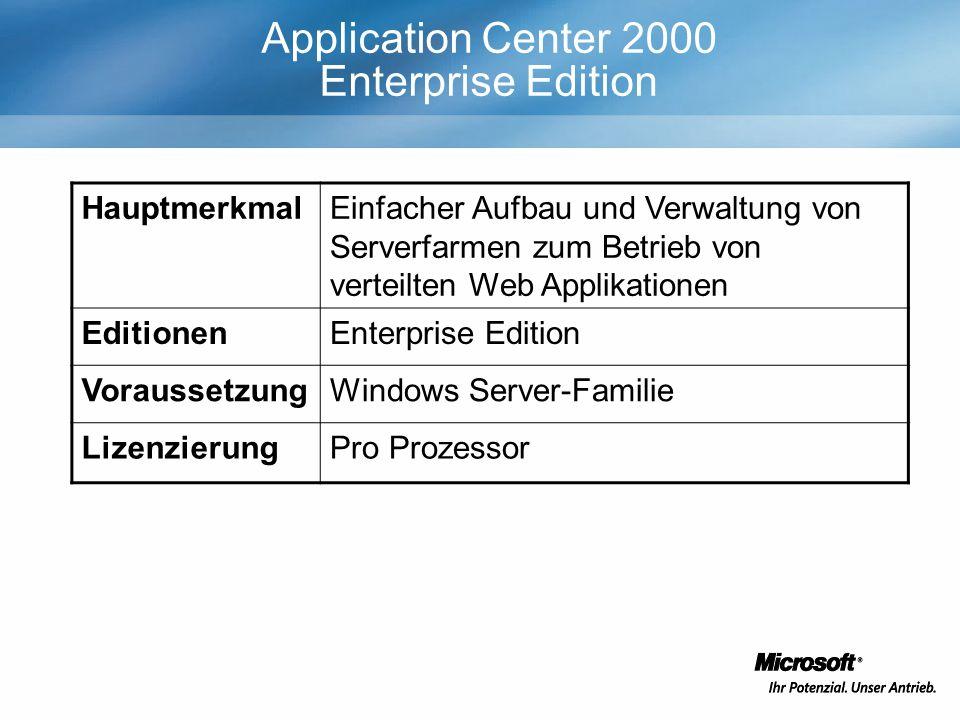 Application Center 2000 Enterprise Edition HauptmerkmalEinfacher Aufbau und Verwaltung von Serverfarmen zum Betrieb von verteilten Web Applikationen EditionenEnterprise Edition VoraussetzungWindows Server-Familie LizenzierungPro Prozessor