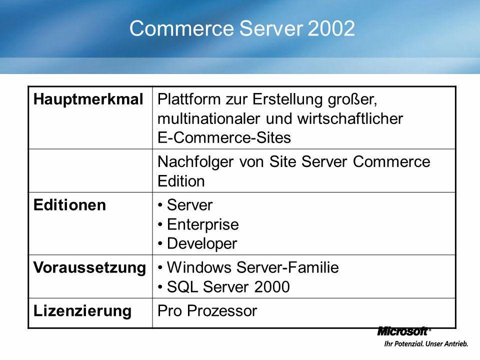 Commerce Server 2002 HauptmerkmalPlattform zur Erstellung großer, multinationaler und wirtschaftlicher E-Commerce-Sites Nachfolger von Site Server Commerce Edition EditionenServer Enterprise Developer VoraussetzungWindows Server-Familie SQL Server 2000 LizenzierungPro Prozessor