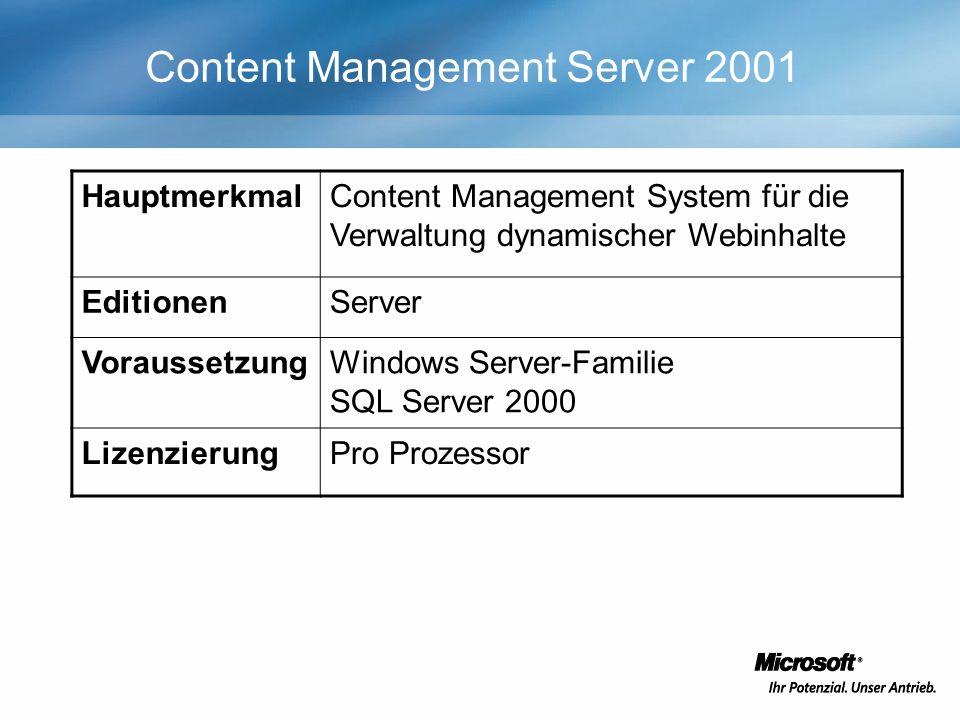 Content Management Server 2001 HauptmerkmalContent Management System für die Verwaltung dynamischer Webinhalte EditionenServer VoraussetzungWindows Server-Familie SQL Server 2000 LizenzierungPro Prozessor