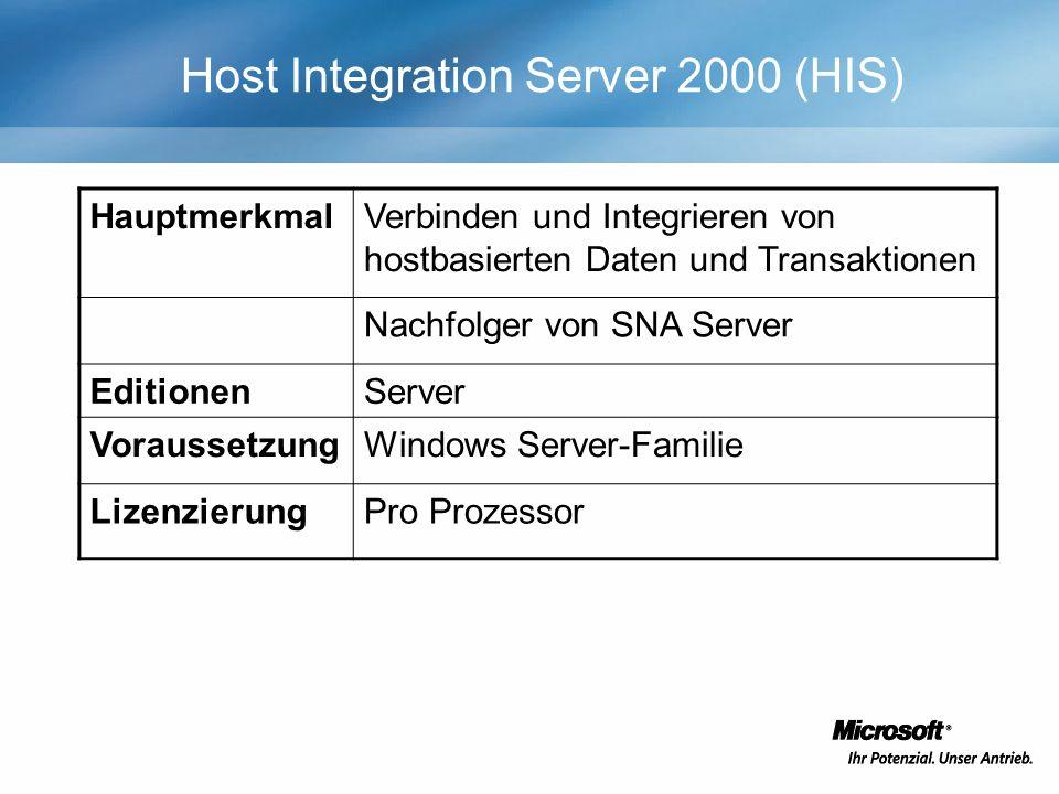 Host Integration Server 2000 (HIS) HauptmerkmalVerbinden und Integrieren von hostbasierten Daten und Transaktionen Nachfolger von SNA Server EditionenServer VoraussetzungWindows Server-Familie LizenzierungPro Prozessor