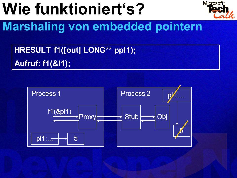 Wie funktionierts? Marshaling von embedded pointern 5pl1:NULL ProxyStub ? Obj Process 1Process 2 pl1:... f1(&pl1) pl1:NULL pl1:... 5 HRESULT f1([out]