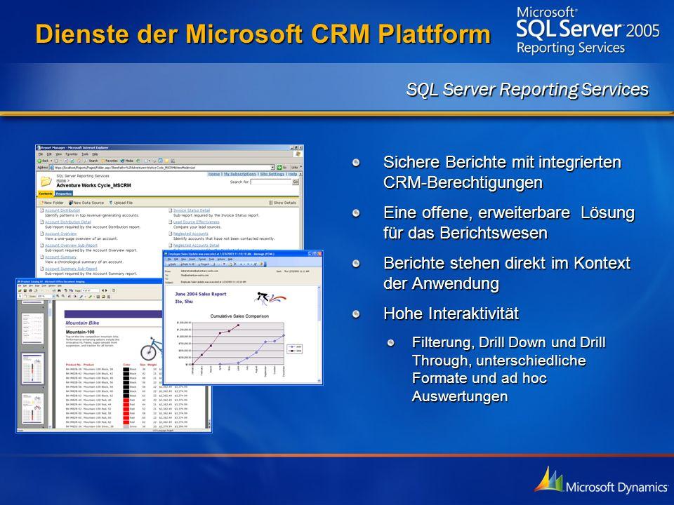 Dienste der Microsoft CRM Plattform Sichere Berichte mit integrierten CRM-Berechtigungen Eine offene, erweiterbare Lösung für das Berichtswesen Berich