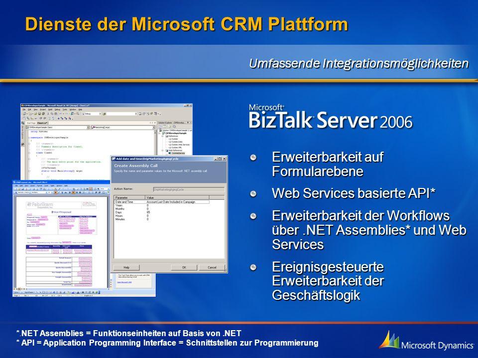 Dienste der Microsoft CRM Plattform Erweiterbarkeit auf Formularebene Web Services basierte API* Erweiterbarkeit der Workflows über.NET Assemblies* un