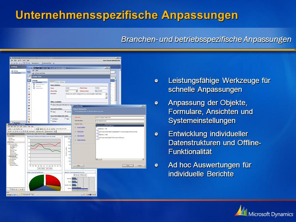 Unternehmensspezifische Anpassungen Leistungsfähige Werkzeuge für schnelle Anpassungen Anpassung der Objekte, Formulare, Ansichten und Systemeinstellu