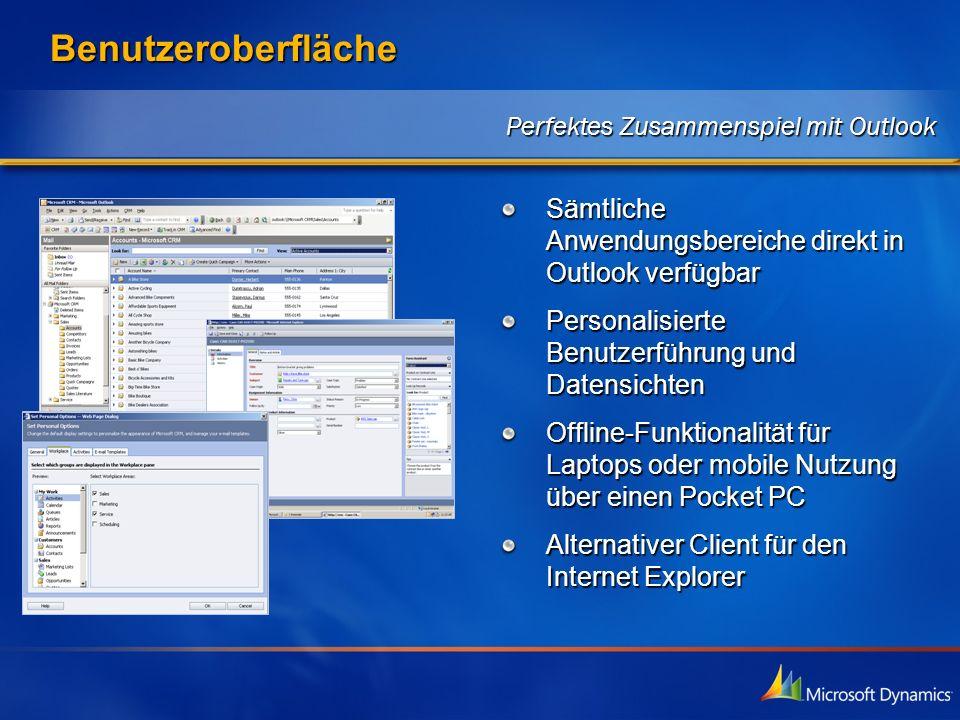 Benutzeroberfläche Sämtliche Anwendungsbereiche direkt in Outlook verfügbar Personalisierte Benutzerführung und Datensichten Offline-Funktionalität fü