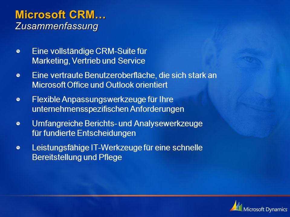 Microsoft CRM… Zusammenfassung Eine vollständige CRM-Suite für Marketing, Vertrieb und Service Eine vertraute Benutzeroberfläche, die sich stark an Mi
