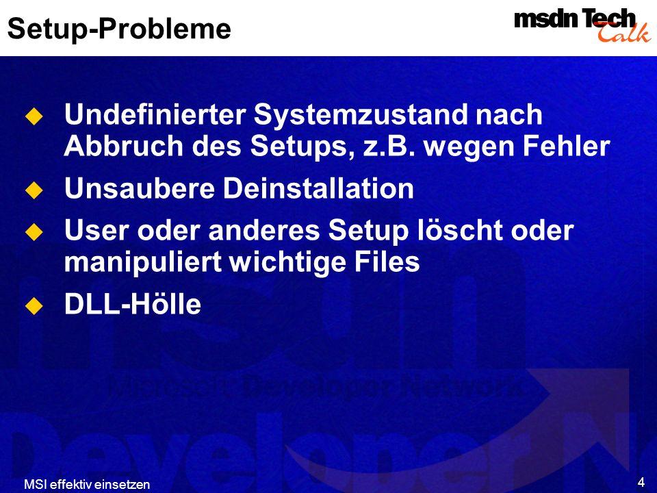 MSI effektiv einsetzen 5 Einige MSI-Antworten Saubere Deinstallation Transaktionale Installation (Alles oder nichts!) Bedarfsgesteuerte Installation von wenig gebrauchten Features oder ganzen Applikationen Selbstreparatur Setup-Routine flexibel anpaßbar