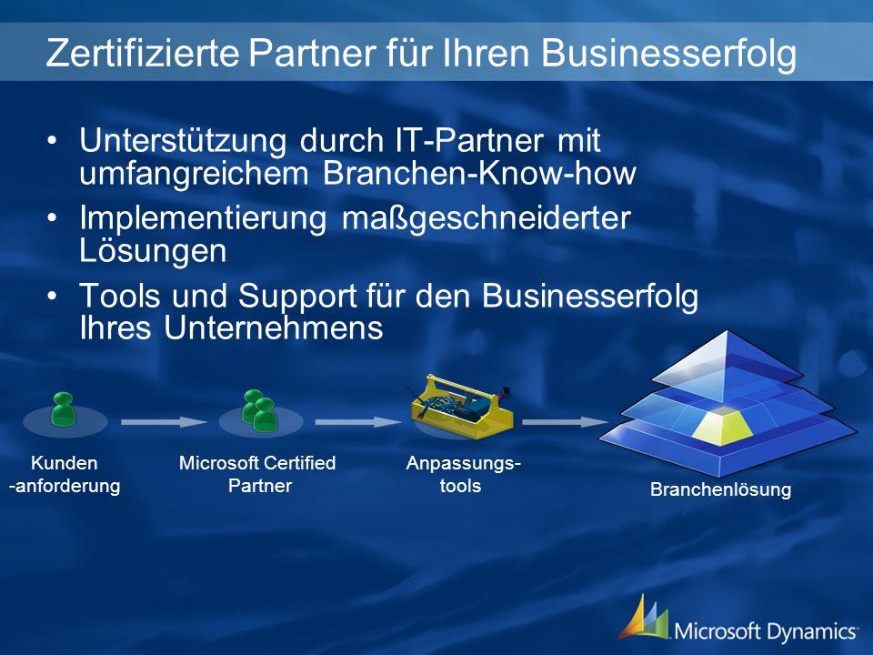 Zertifizierte Partner für Ihren Businesserfolg Kunden -anforderung Microsoft Certified Partner Anpassungs- tools Branchenlösung Unterstützung durch IT