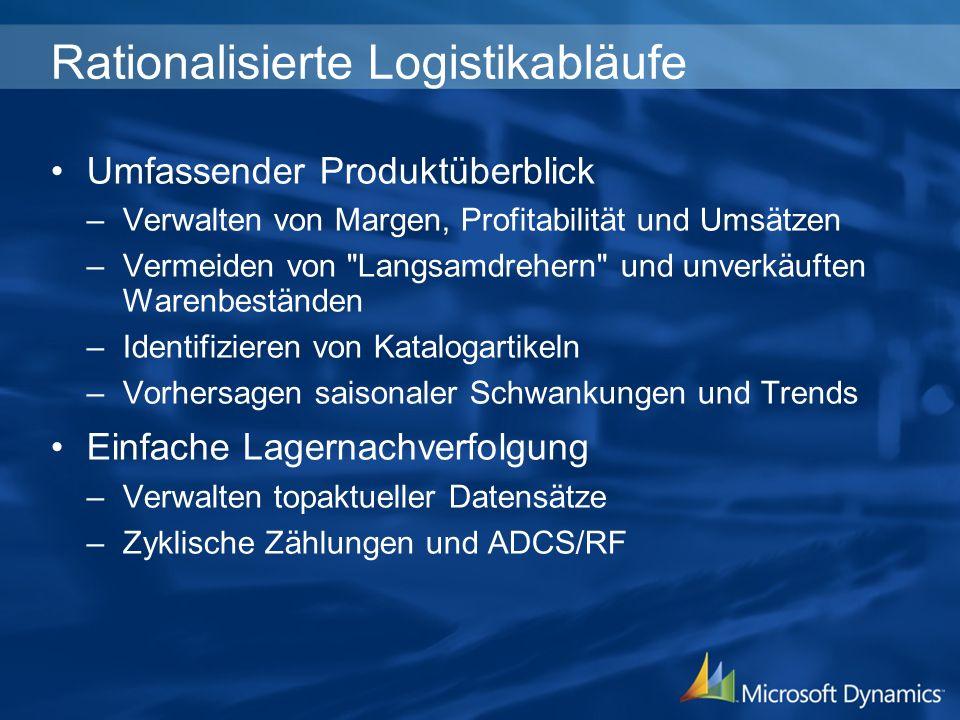 Rationalisierte Logistikabläufe Umfassender Produktüberblick –Verwalten von Margen, Profitabilität und Umsätzen –Vermeiden von