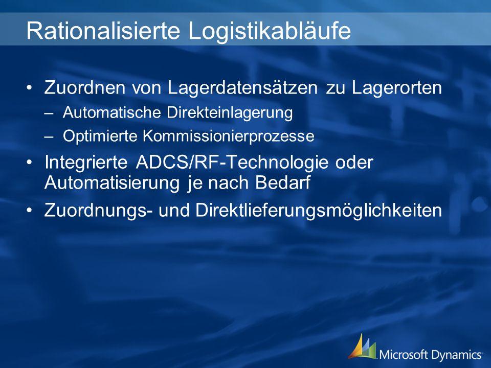 Rationalisierte Logistikabläufe Zuordnen von Lagerdatensätzen zu Lagerorten –Automatische Direkteinlagerung –Optimierte Kommissionierprozesse Integrie