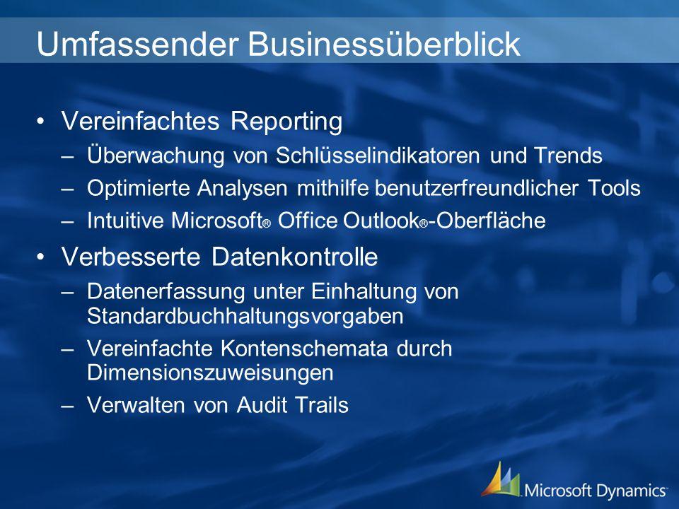 Umfassender Businessüberblick Vereinfachtes Reporting –Überwachung von Schlüsselindikatoren und Trends –Optimierte Analysen mithilfe benutzerfreundlic