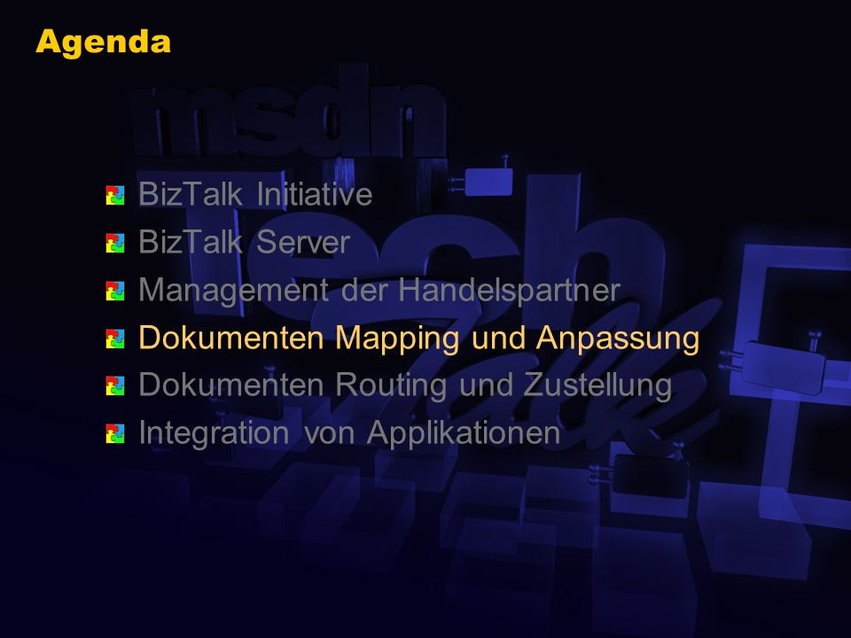 BizTalk Editor Erstellen und Speichern von XML Schemata Export der BizTalk XDR Syntax (XML reduced) Import Module für WellFormed-XML DTD XDR Schema Be