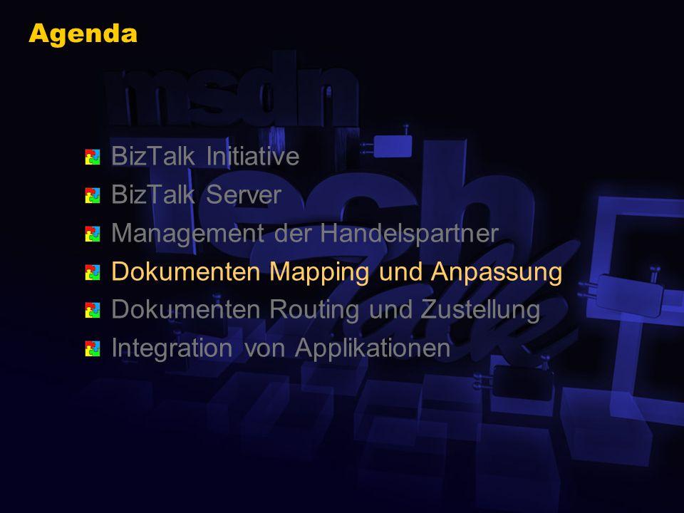 BizTalk Editor Erstellen und Speichern von XML Schemata Export der BizTalk XDR Syntax (XML reduced) Import Module für WellFormed-XML DTD XDR Schema Benutzung für XML/Non-XML X12 EDI Flat (Delimited & Positional)