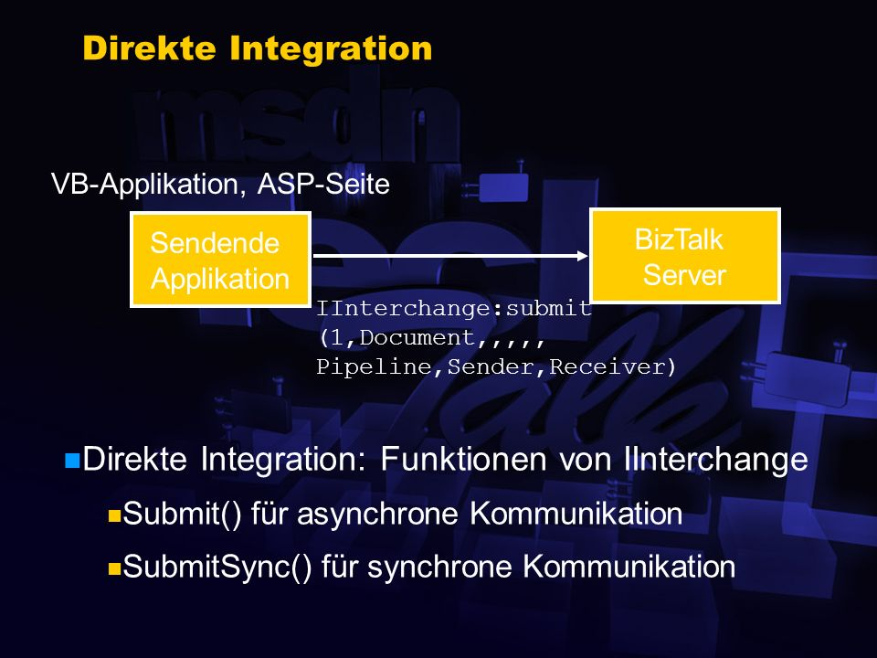 Senden und Empfangen von Dokumenten Senden von Dokumenten zum BizTalk Server Direkte Integration Generische Integration Empfang von Doks vom BizTalk Server File, FTP, MSMQ Application Integration Component(s)