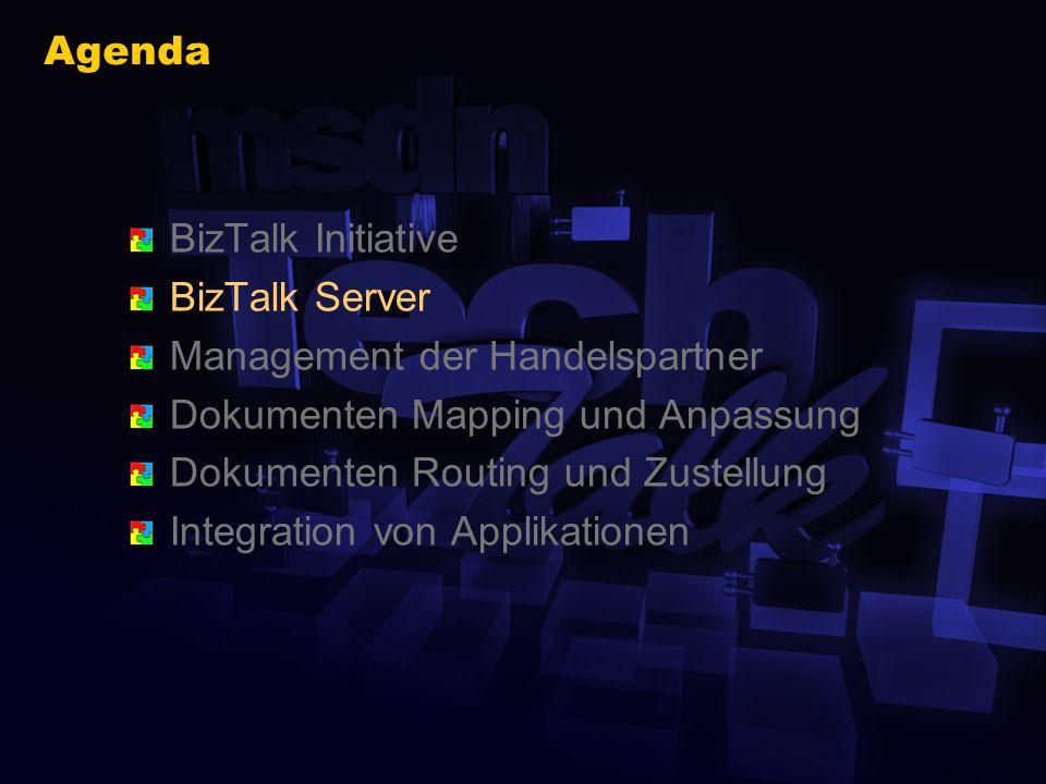 BizTalk Community www.biztalk.org Web basierte Schema Bibliothek Tools für die Registrierung und das Tracking von Schemata 300+ 3 rd Party XML Schemata 150+ Registrierte Organisationen