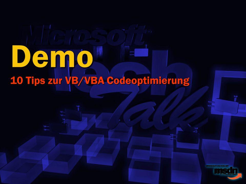 Demo 10 Tips zur VB/VBA Codeoptimierung
