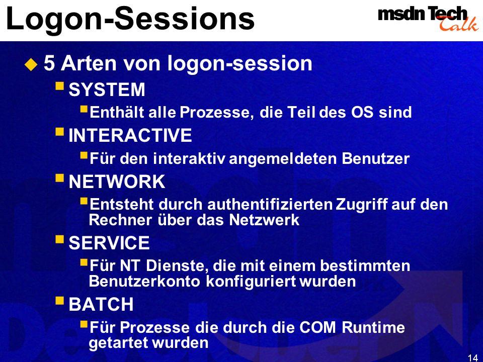 14 Logon-Sessions 5 Arten von logon-session SYSTEM Enthält alle Prozesse, die Teil des OS sind INTERACTIVE Für den interaktiv angemeldeten Benutzer NE