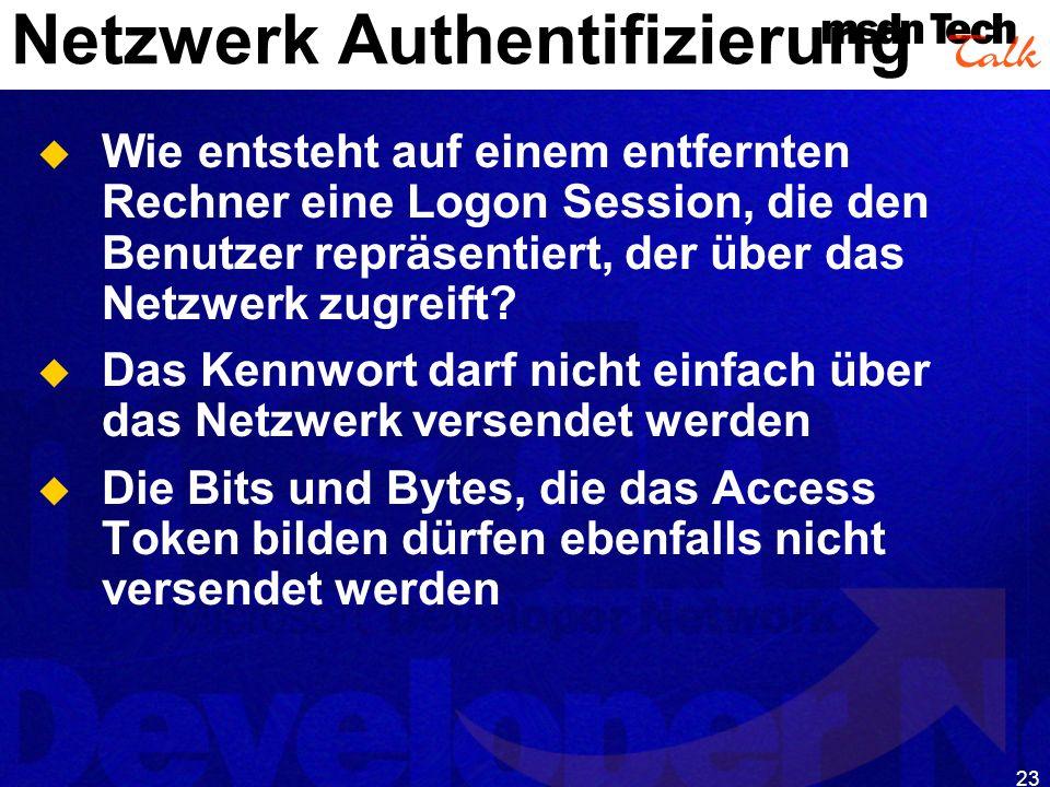23 Netzwerk Authentifizierung Wie entsteht auf einem entfernten Rechner eine Logon Session, die den Benutzer repräsentiert, der über das Netzwerk zugr