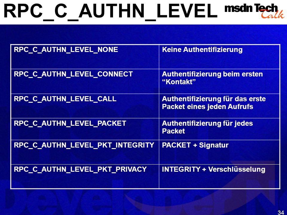 34 RPC_C_AUTHN_LEVEL RPC_C_AUTHN_LEVEL_NONEKeine Authentifizierung RPC_C_AUTHN_LEVEL_CONNECTAuthentifizierung beim ersten Kontakt RPC_C_AUTHN_LEVEL_CA