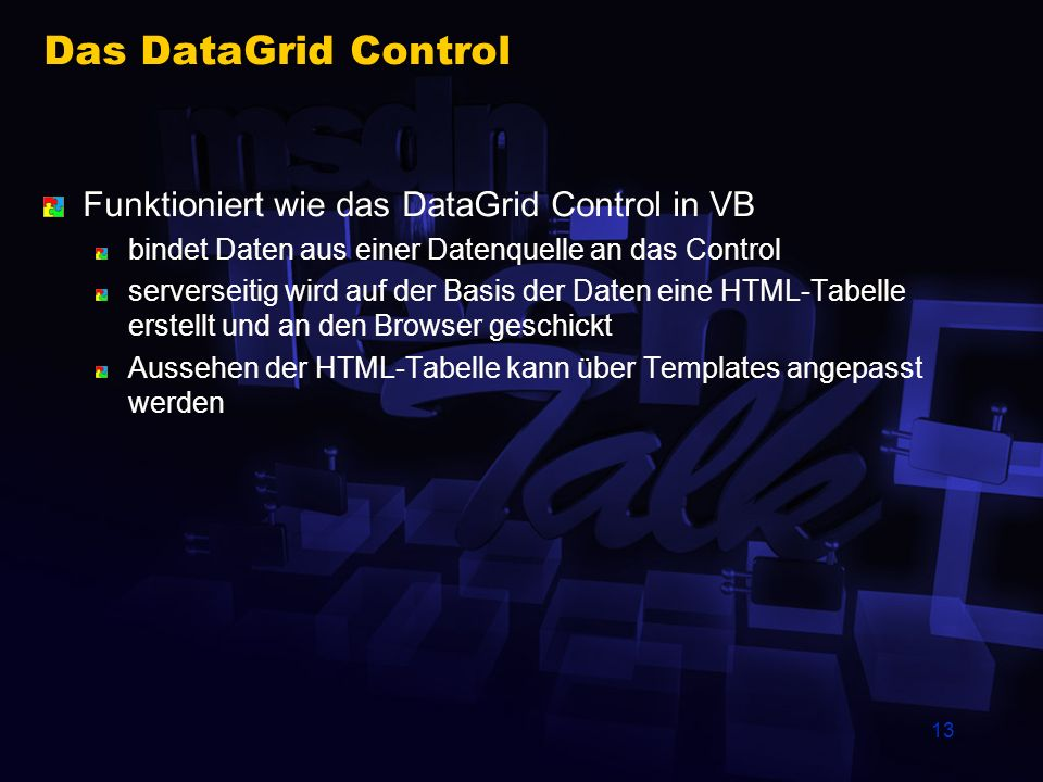 13 Das DataGrid Control Funktioniert wie das DataGrid Control in VB bindet Daten aus einer Datenquelle an das Control serverseitig wird auf der Basis