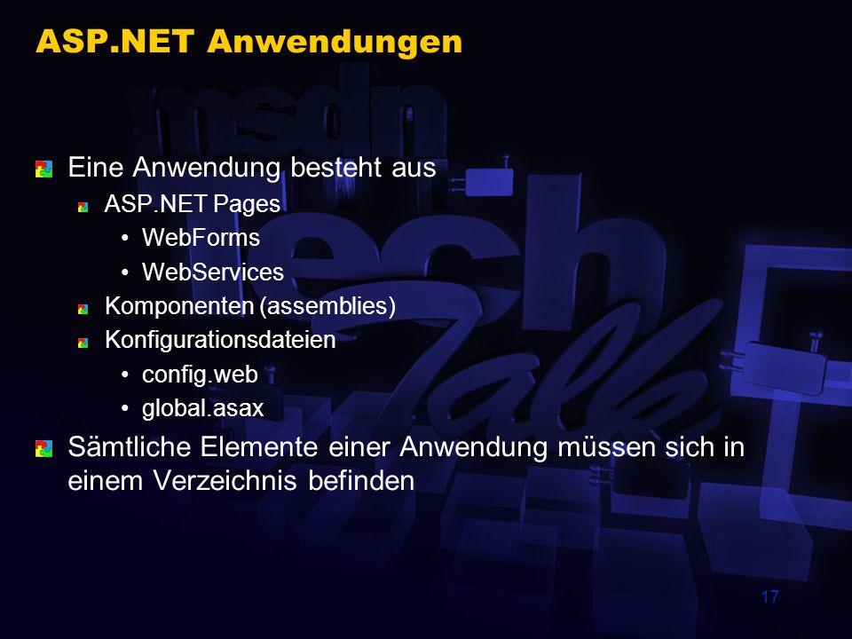 17 ASP.NET Anwendungen Eine Anwendung besteht aus ASP.NET Pages WebForms WebServices Komponenten (assemblies) Konfigurationsdateien config.web global.