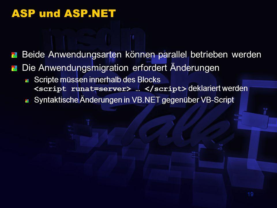 19 ASP und ASP.NET Beide Anwendungsarten können parallel betrieben werden Die Anwendungsmigration erfordert Änderungen Scripte müssen innerhalb des Bl