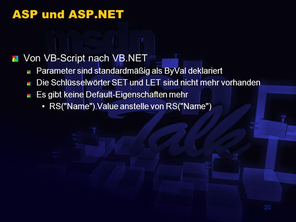 20 ASP und ASP.NET Von VB-Script nach VB.NET Parameter sind standardmäßig als ByVal deklariert Die Schlüsselwörter SET und LET sind nicht mehr vorhand