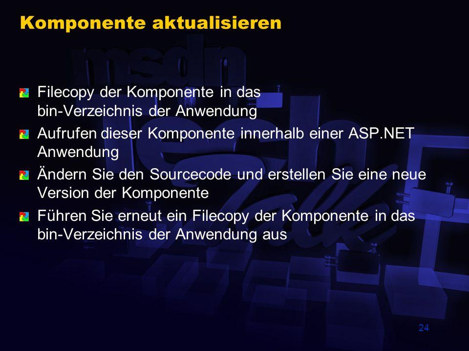 24 Komponente aktualisieren Filecopy der Komponente in das bin-Verzeichnis der Anwendung Aufrufen dieser Komponente innerhalb einer ASP.NET Anwendung