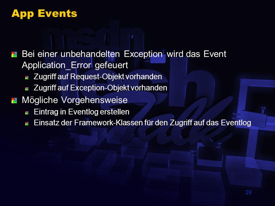 29 App Events Bei einer unbehandelten Exception wird das Event Application_Error gefeuert Zugriff auf Request-Objekt vorhanden Zugriff auf Exception-O