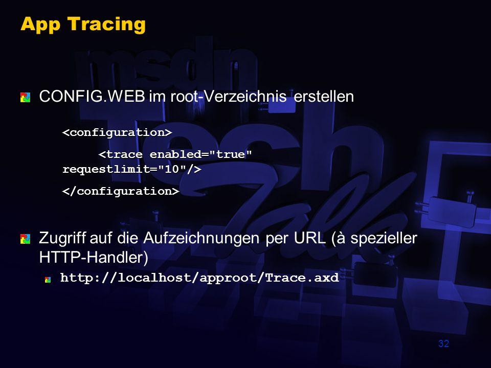 32 App Tracing CONFIG.WEB im root-Verzeichnis erstellen Zugriff auf die Aufzeichnungen per URL (à spezieller HTTP-Handler) http://localhost/approot/Tr