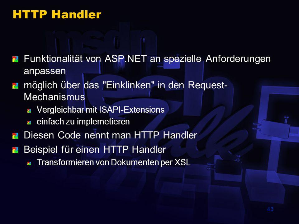 43 HTTP Handler Funktionalität von ASP.NET an spezielle Anforderungen anpassen möglich über das