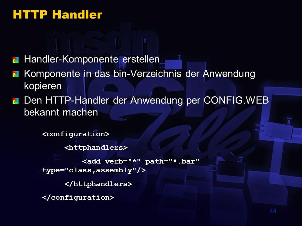 44 HTTP Handler Handler-Komponente erstellen Komponente in das bin-Verzeichnis der Anwendung kopieren Den HTTP-Handler der Anwendung per CONFIG.WEB be