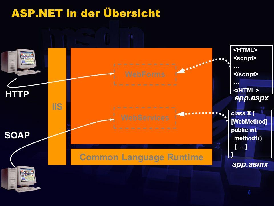 7 WebServices Einfaches Programmiermodell Erstellen Sie eine ASMX-Datei, die eine Klasse mit den Methoden enthält, die Sie zur Verfügung stellen möchten Das Hinzufügen des Attributs WebMethod zu einer Public-Methode macht sie automatisch zu einem WebService ASP.NET macht den Rest Erzeugen der Service-Beschreibung als WSDL-Datei (WebService Description Language) Compile on demand