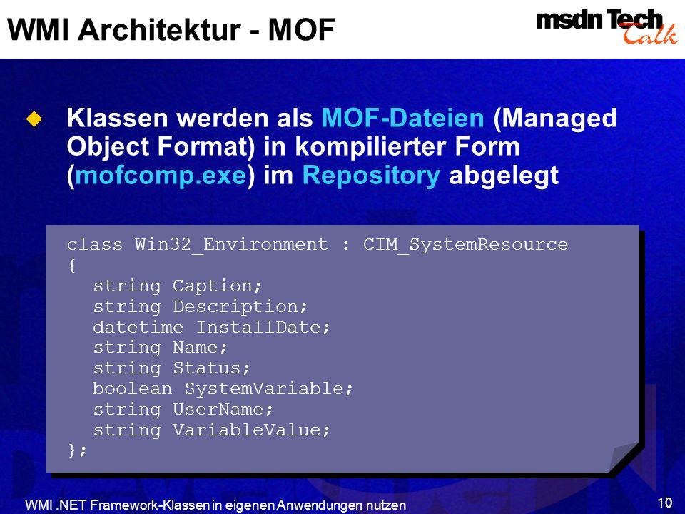 WMI.NET Framework-Klassen in eigenen Anwendungen nutzen 10 WMI Architektur - MOF Klassen werden als MOF-Dateien (Managed Object Format) in kompilierte