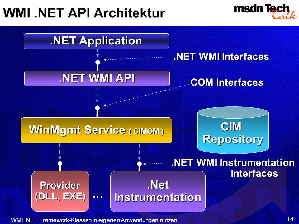 WMI.NET Framework-Klassen in eigenen Anwendungen nutzen 14 WMI.NET API Architektur WinMgmt Service ( CIMOM ) COM Interfaces Provider (DLL, EXE) CIMRep