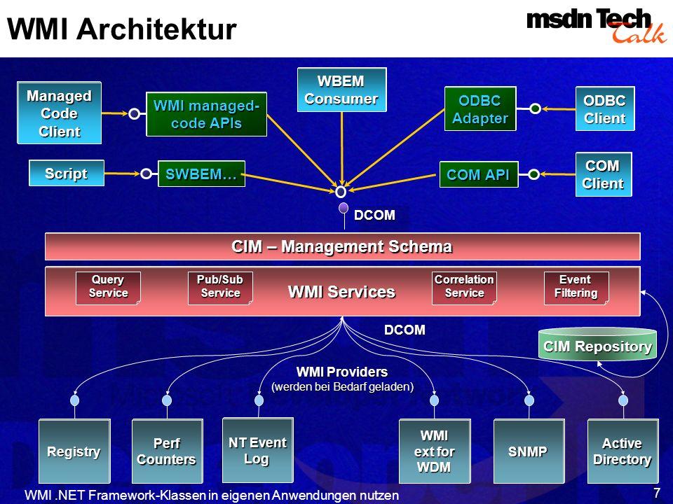 WMI.NET Framework-Klassen in eigenen Anwendungen nutzen 8 WMI Architektur Provider bieten Zugriff auf Objekte an Consumer greifen auf Informationen zu Managed Objects (MOs) repräsentieren (Hardware- oder Software-) Ressourcen Organisiert in verschiedeneNamespaces Klassen als Beschreibung von Ressourcen Instanzen von Klassen als Verkörperung der tatsächlich vorhandenen Objekte